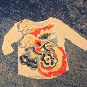 Lucky Brand Flower 3/4 Sleeve Shirt, Like New